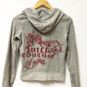 Juicy Couture Velour Gray Track Jacket Med